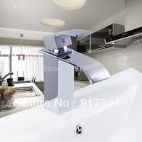 Beautiful Deck Mounted Single Handle Bathroom  Waterfall Brass Basin Sink Mixer Tap Chrome Faucet YS8256