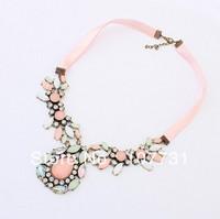 2014 New Fashion European American Beautiful Elegant Women Rhinestone Necklaces & Pendants Women Chain Neckalce Free Shipping