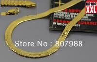2014 New  long size  24k gold plated 10mm wide herringbone chain jewelry cool men's herringbone necklace chain   22inch