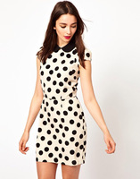 New Fashion Women's elegant Dots pattern Pleated dress sweet peter pan collar short-sleeve dress evening party dress