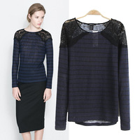 New Fashion Ladies' sexy lace shoulder spliced striped T-shirt O-neck long sleeve casual slim shirts brand designer tops