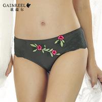 fashion female elegant embroidery luxury women's sexy panties mid waist briefs gr02