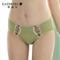 fashion female elegant embroidery luxury women's sexy panties mid waist briefs gr01