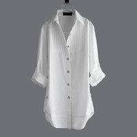 Medium-long Vintage White long-Sleeve Shirt Cotton Black Plus Size Shirt Female M-L-XL-XXL-XXXXL