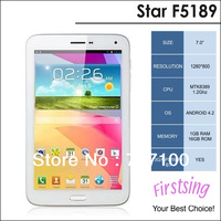 Hot cheap! Star F5189 MTK8389 Quad Core Tablet PC 7 Inch IPS Screen Android 4.2 3G GPS Monster Phone 8GB Bluetooth WCDMA White