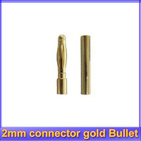 100pair/lot 2.0mm 2mm connector gold Bullet plug rc battery