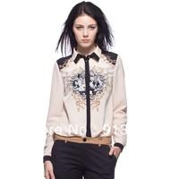 ST1000 New Fashion Ladies' vintage Totem print blouse Turn-down collar long sleeve Shirt casual slim brand designer tops