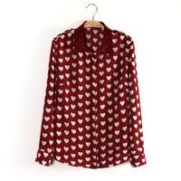 2014 Ladies blouses  Fashion heart printed blusas femininas for women