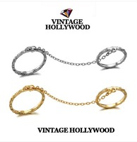 Vintage hollywood 13fw brief all-match twinset chain joint ring
