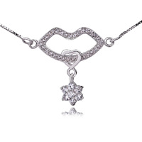GNX0298 High qualitiy 925 Sterling silver 23.7*22mm kiss your heart Pendant Fashion Box Chain Necklace for women Free shipping