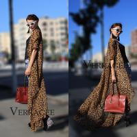 New 2014 Spring Summer New Womens European  Americian Brand design Jennifer Lopez Long Maxi  Boho Plus Size Leopard Shirt Dress