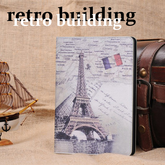 2014 New Retro London Bridge Eiffel Tower Senior Leather Smart Back Cover Tablet PC Stand Case For Apple iPad Mini Air 5 Cases(China (Mainland))