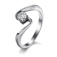 Opk fashion accessories big rhinestone women's titanium ring qj7005