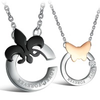 Opk accessories 2013 butterfly exquisite titanium lovers necklace qx834