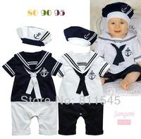 Sailor Baby Bodysuit Romper + Hat 2 Piece Infantil Boy Set Kids Suit for Summer Toddler Clothes Children Outerwear Bebe Clothing