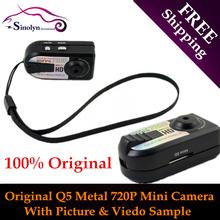 Free Shipping 100% Original High Quality Q5 Metal 720P Mini Hidden DV Video& Photo Camera Camcorders With Original Packing Box