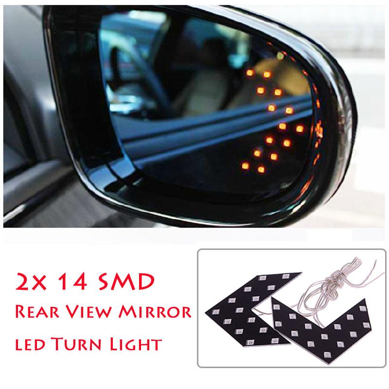 New 2 Pcs 14 SMD LED Arrow Panel For Car Rear View Mirror Indicator Turn Signal Light # 49834(China (Mainland))