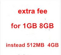 extra fee for 1GB ram and 8GB rom instead of 512MB and 4GB for 10inch android 4.2 Via8880 laptop