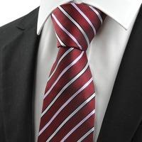 Luxury Brand Striped Dark Red Men's Tie Necktie Wedding Gravata Occasion Holiday Gift #0014 freeshipping