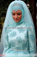 OUMEIYA ONW617 Muslim Hijab And Veil Long Sleeve Ball Gown Ice Blue Wedding Dress 2014