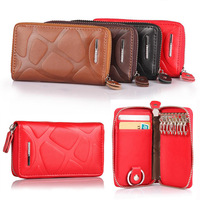 2014 New Men Women's Unisex Genuine Cow Leather Key Holders Wallet Car Keys Bag, With Stone Pattern, 9 keyrings+2 card places