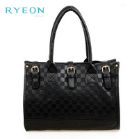 2014 New Spring Women Fashion Plai Casual Hard Zipper Versatile Black Midium Totes Shopping PU Leather Handbag Girl Shoulder Bag