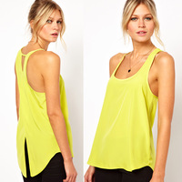 blusas femininas chifon camisa fashion Back cross dovetail lemon yellow chiffon female vest chaleco camicetta
