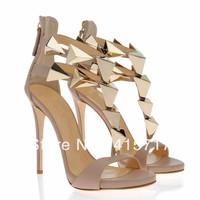 Retro Style Fashion 2014 New Brand High Heel Sandals Leather Women Summer Sandals