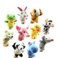 Wholesale 10 pcs/lot Hot Sale New 2014 Cute Baby Kids Plush Toy/Finger Puppets/Tell Story Props Cartoon Animal Doll For Children