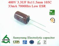 NEW 2013 Original Capacitor 3.3uF 400V 8x11.5mm 20% 7000h 33mA RDL 3.5mm Low ESR Samyoung Aluminum Electrolytic Capacitor Bulk