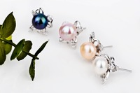 1 pair  fashion jewelry 925 Sterling Silver freshwater Pearl stud earing Fashion Pearl Jewelry 925 Sliver earring GNE0880