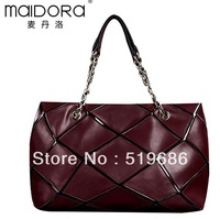 Fashion  Simple and elegant Cowhide Leather Chain stitching Women Handbags 4 color choose Size L40xH25xD14cm