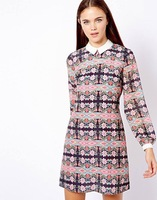Free shipping 2014 spring new European and American women print lapel long-sleeved chiffon dress vintage pencil dress vestido