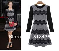 2014 New fashion European o-neck women's long sleeve T-shirt  high quality vintage slim lady dress drop shipment