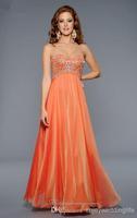 RP0252 Elegant  A-line  Sweetheart Strapless Orange Crystals Sequins Beading Satin Floor Length Natural Prom Dress 2014