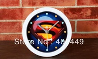 American superhero Superman style Creative Wall Clock  High Quality Decorative wall clocks free shipping 1027