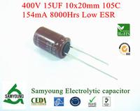 NEW 2013 Original Capacitor 15uF 400V 10x20mm 20% 8000h 154mA RDL 5.0mm Low ESR Samyoung Aluminum Electrolytic Capacitor Bulk