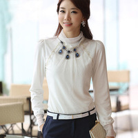 2014 spring Korean fashion Slimming women lace chiffon shirt female plus size blouse chifon blusas coreano camicetta