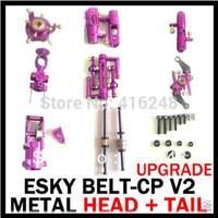 Esky Belt cp v2 CNC Metal Upgrade Head Tail parts (Purple)