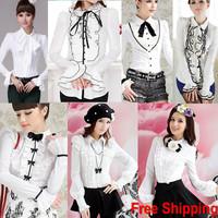 Best Selling 2014 Autumn shirt women Ladies' Lace Ruffles Puff long Sleeve Princess Blouse Shirts White Black S-XXL High Quality