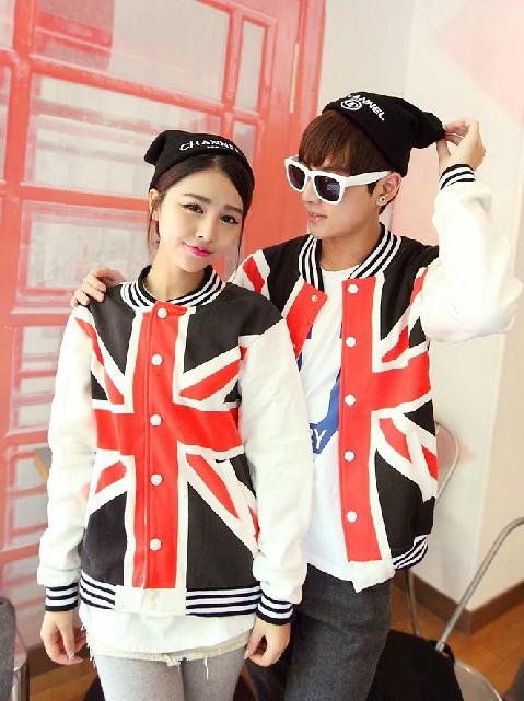 Union Jack Baseball Polo Fleece Sweatshirts 2014 New Autumn Winter Sport couples Cardigan Sports Jacket Free Shipping S8020(China (Mainland))