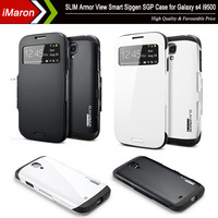 New Luxury Leather Flip Case For Samsung Galaxy s4 S IV i9500 Original SLIM ARMOR SPIGEN SGP S View Automatic Sleep / Awake case