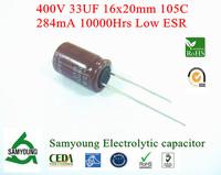 NEW 2013 Original Capacitor 33uF 400V 16x20mm 20% 10000h 284mA RDL 7.5mm Low ESR Samyoung Aluminum Electrolytic Capacitor Bulk