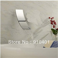 Free Shipping Wholesale And Retail Promotion NEW Chrome Brass Wall Mounted Bathroom Waterfall Spout Bathroom Tub Faucet Spout