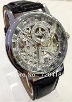Brand New Silver Case Fashion Roman Number Skeleton Mechanical Hand Wind Men's Casual Dress Sport Gift Analog Winner Wrist Watch