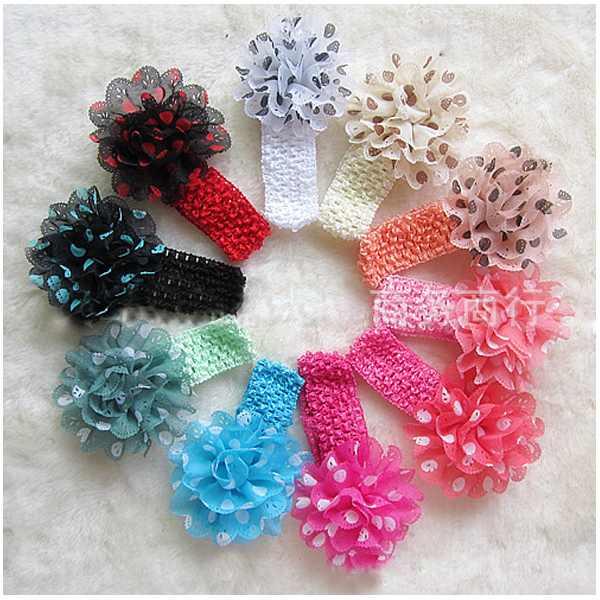 Free shipping 10pcs/set Children's Accessories Girls Crochet Elastic Headbands With Polka Dot Flower Hairdband 10 colours(China (Mainland))