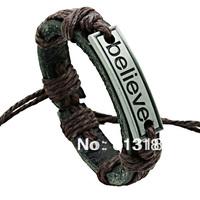 Free Shipping,Retro Hand Weave Genuine Leather Bracelet For Men,Letters Believe Bracelet Women