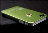 Free Shipping  Metal Back Shell Case for iPhone4 4S Sport Car Luxury Aluminum Cover Cases For iPhone4