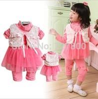 girls spring -summer flower sally lace dress clothing sets 3pcs girls vest+dress+pant clothes sets kids apparel retail wholesale