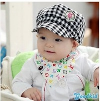 Free shipping Baby Cap lovely plaid baby hat Autumn And Winter Kids Fashion Berets Plaid Hats For Baby Boy And Girl Hat